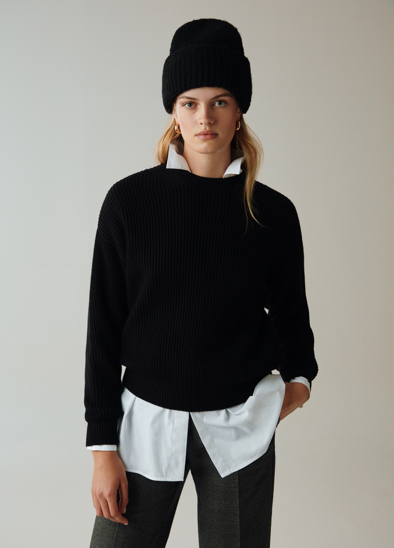 PIOMBO Pullover girocollo a coste image number null