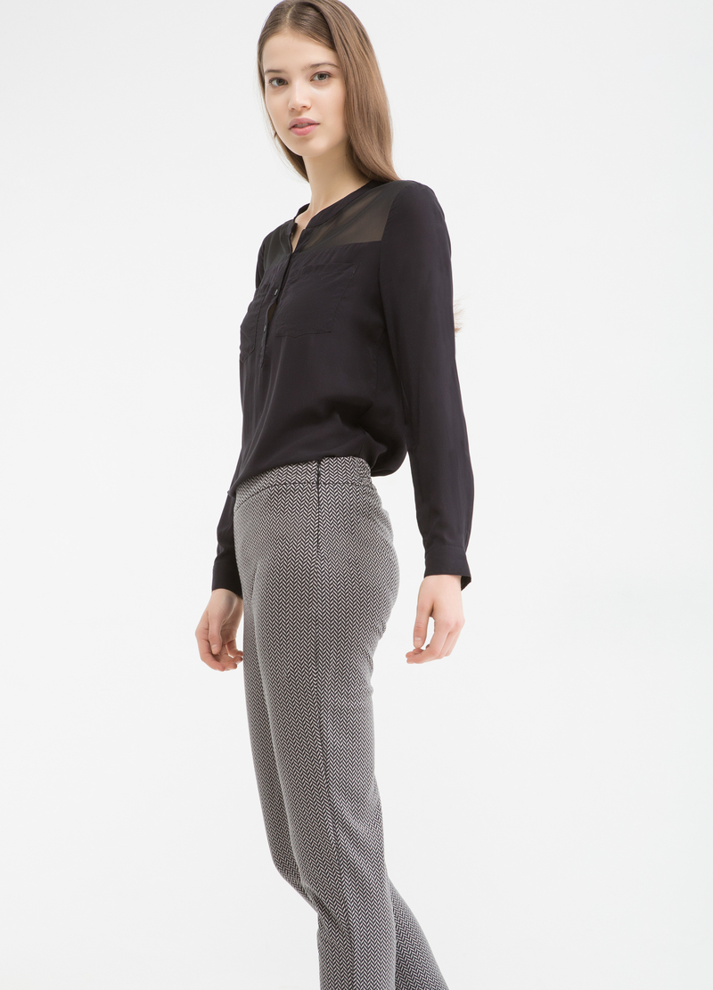 Stretch patterned trousers image number null