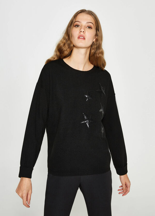 Pullover lana paillettes a stelle | OVS