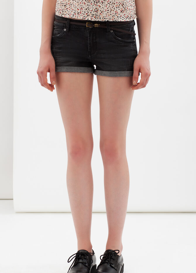 Shorts stretch con risvolto