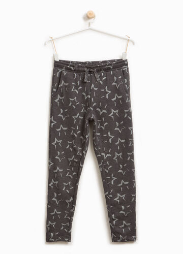 Cotton blend trousers with star print