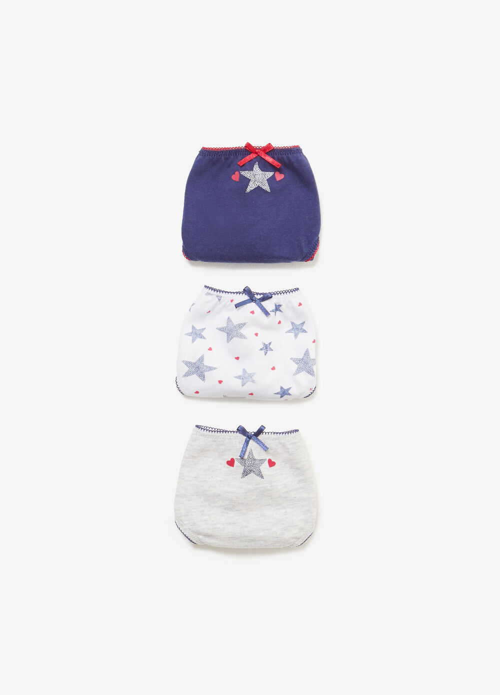 Three-pack cotton solid colour and star patterned briefs