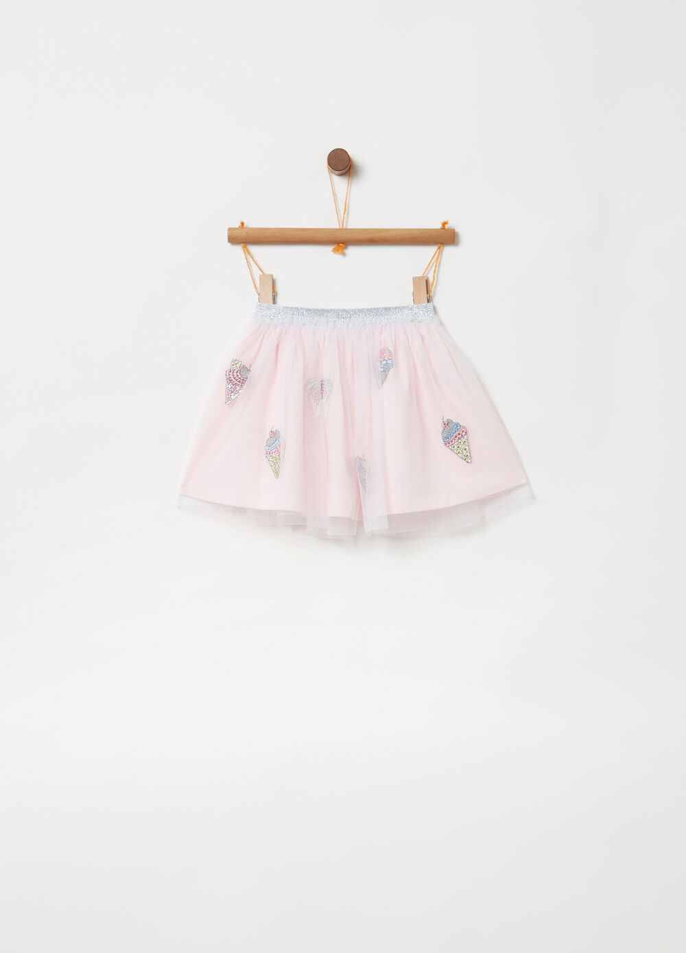 Skirt with tulle and glitter print with diamantés
