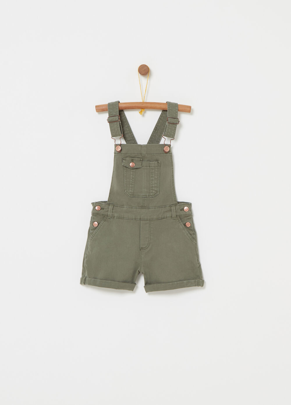 Short dungarees in stretch twill