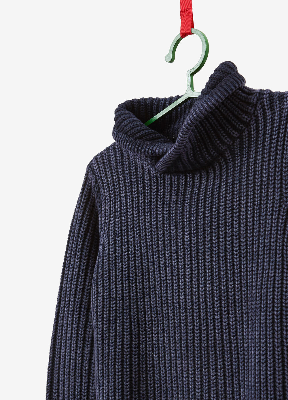 100% cotton knitted pullover with high neck