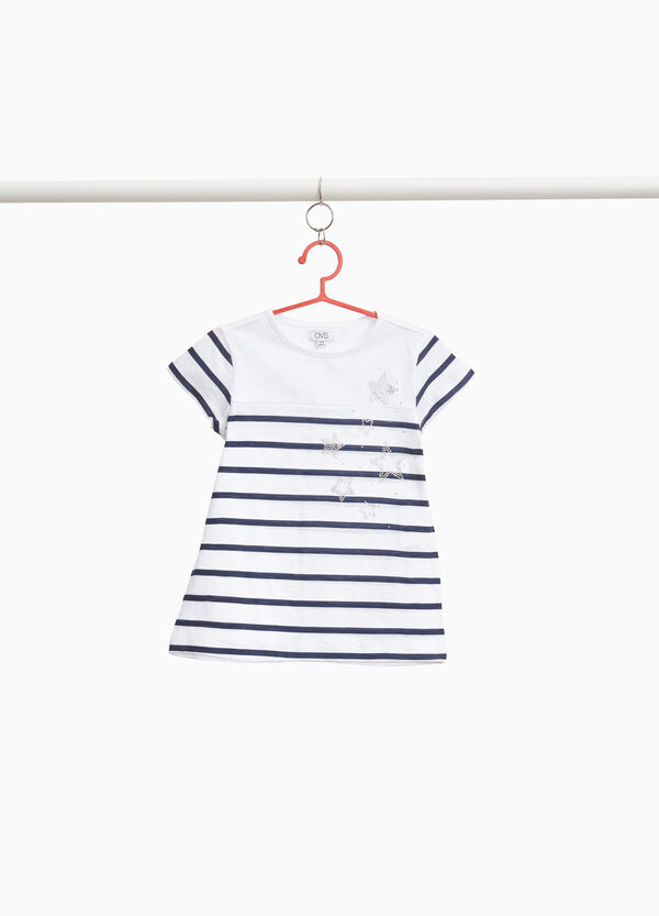 Striped T-shirt with star-shaped diamantés