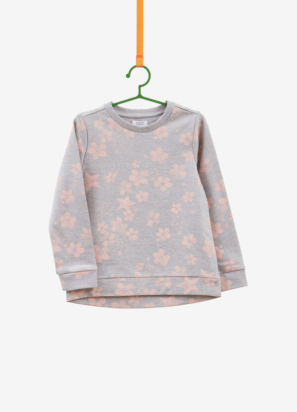 Floral and stars print cotton sweatshirt