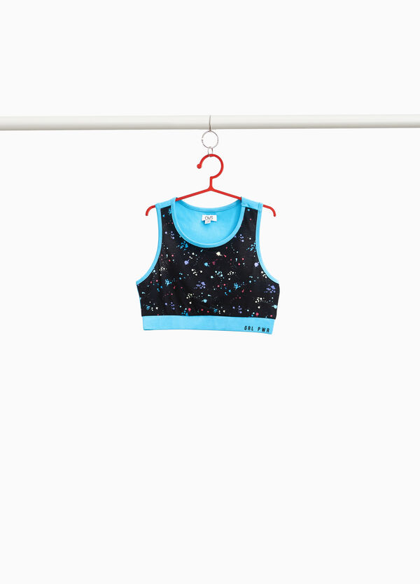 Top crop stretch con stampa all-over