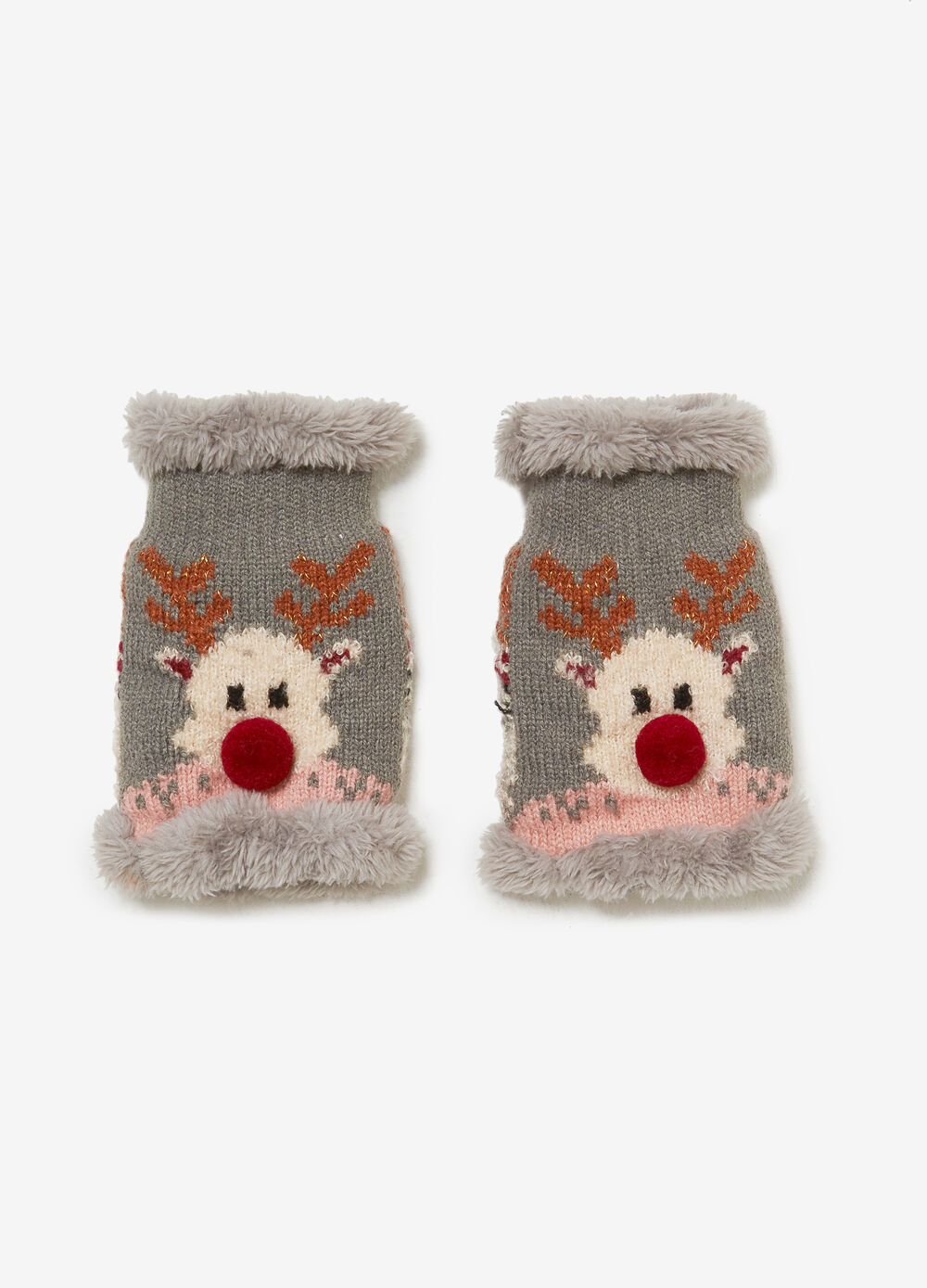 Mittens with faux fur and reindeer pattern