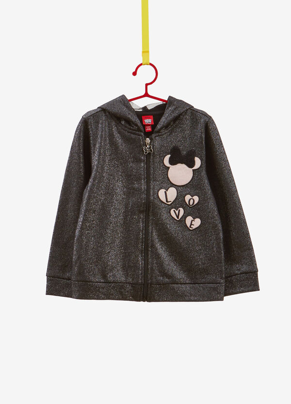Sweatshirt in 100% cotton with glitter Minnie Mouse