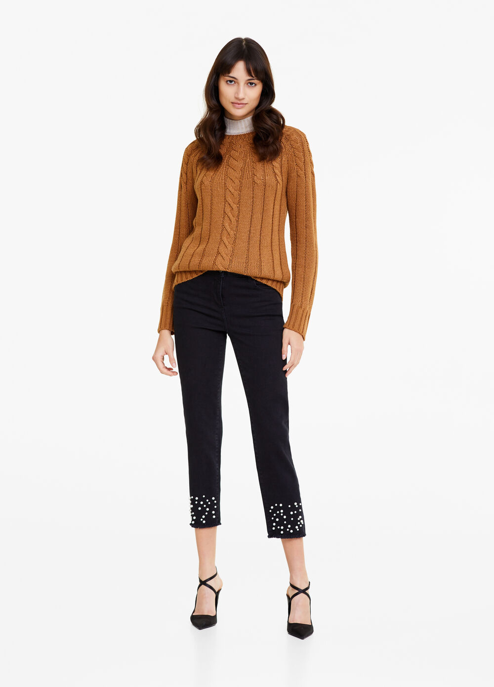 Openwork knitted pullover