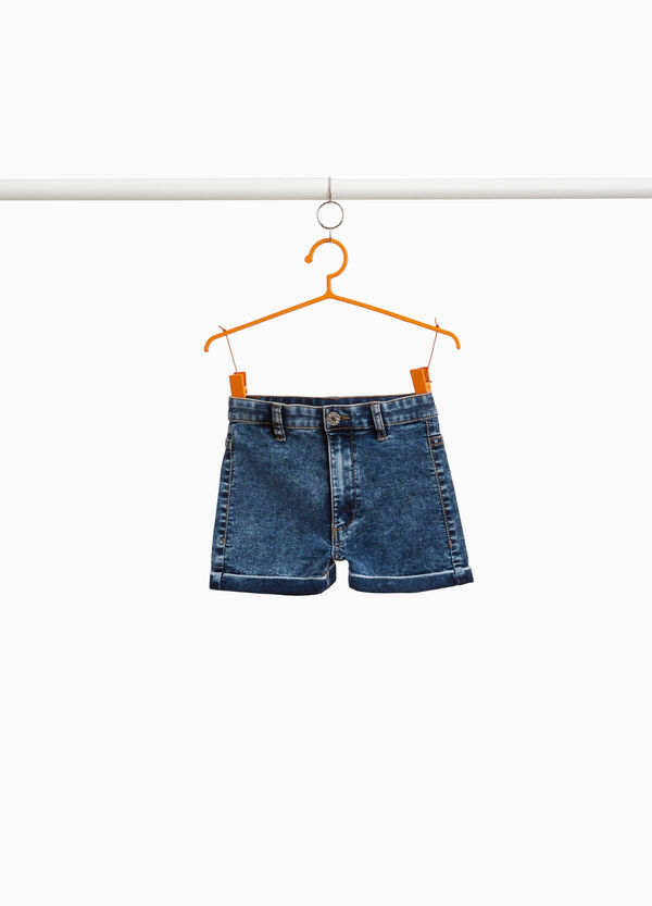 Mis-dyed stretch denim shorts