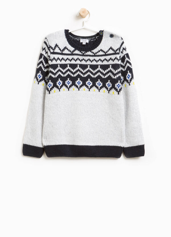 Knit pullover with geometric embroidery | OVS
