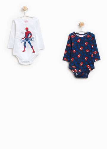 Two-pack Spiderman bodysuits patterned and printed