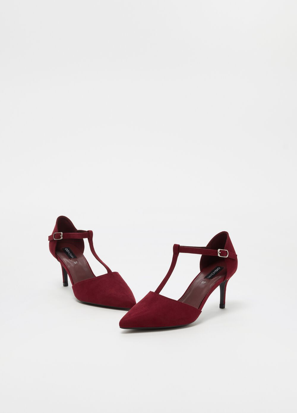 Pointed open-toe court shoe with stiletto heel