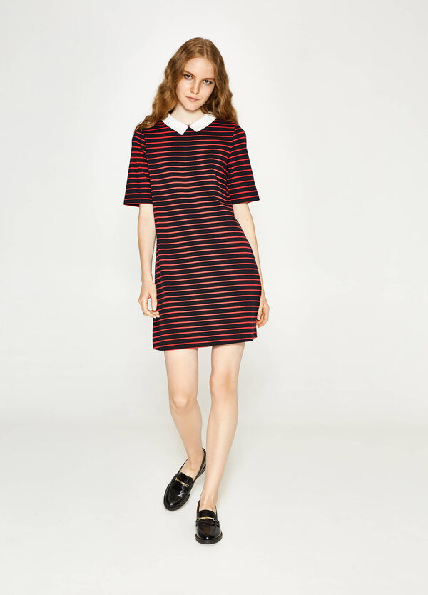 100% cotton dress with collar | OVS