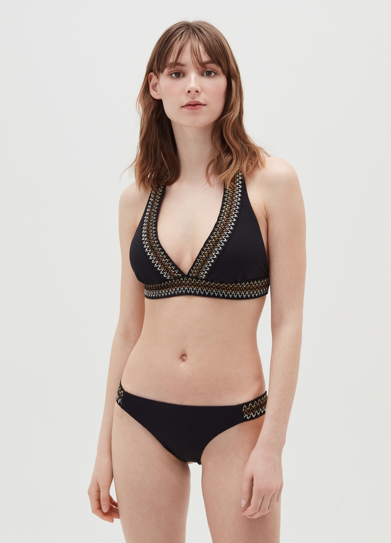 Great-fit triangle bikini top with lurex weave image number null