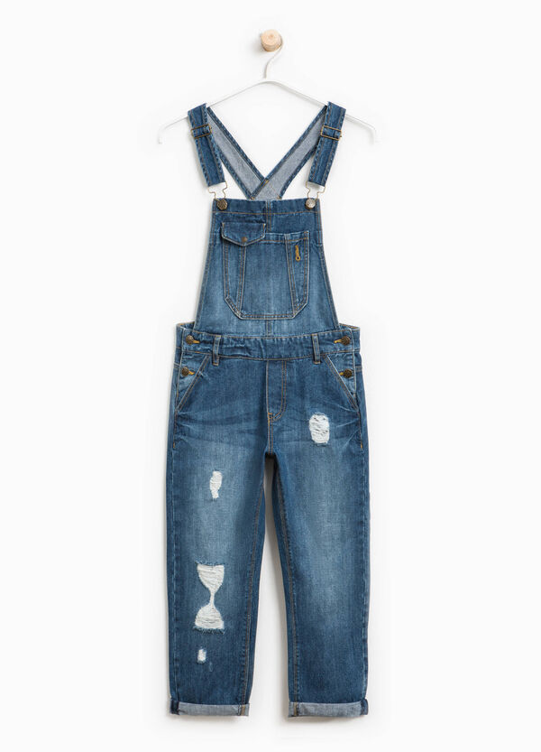 Used-effect denim dungarees with rips | OVS
