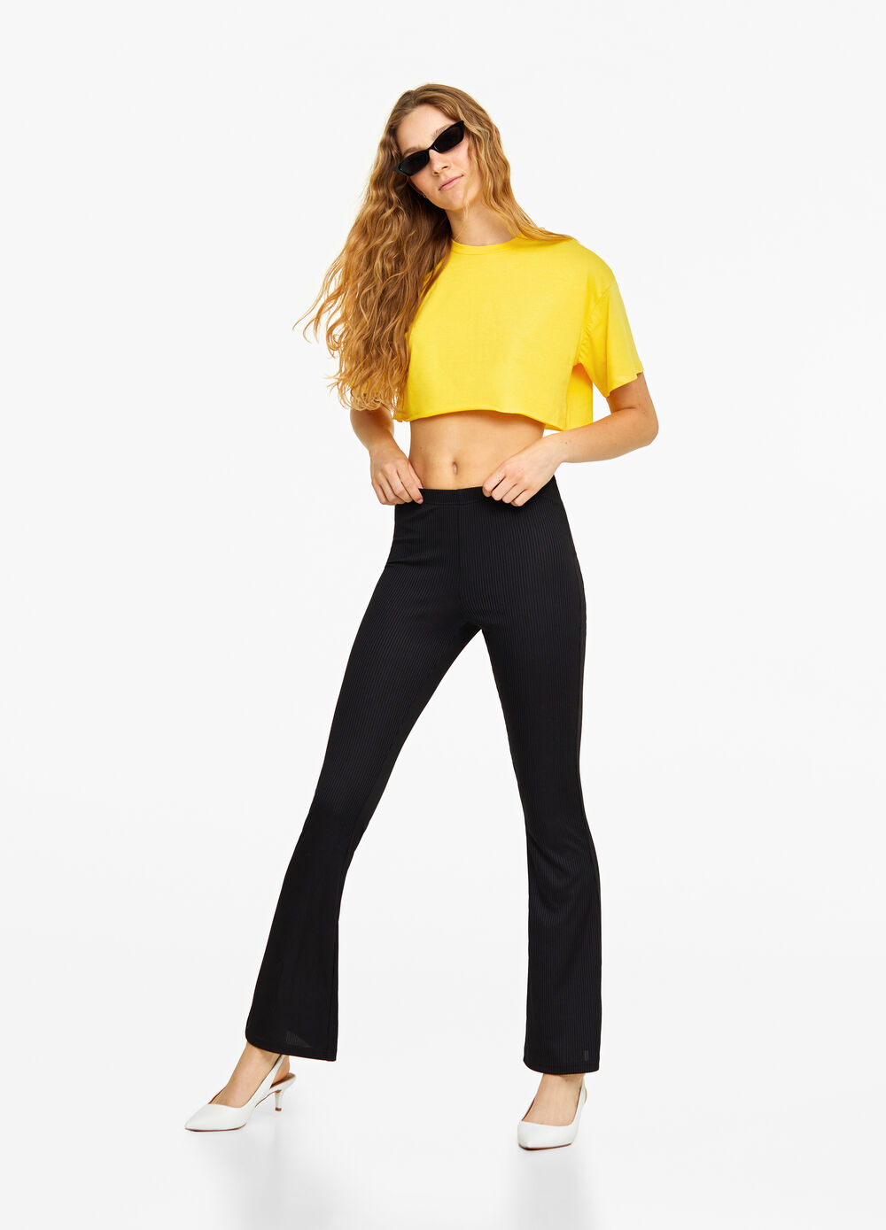 Cropped T-shirt in 100% cotton