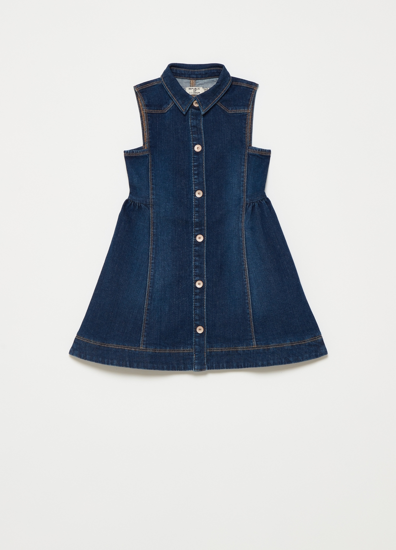 Sleeveless dress in denim with buttons image number null