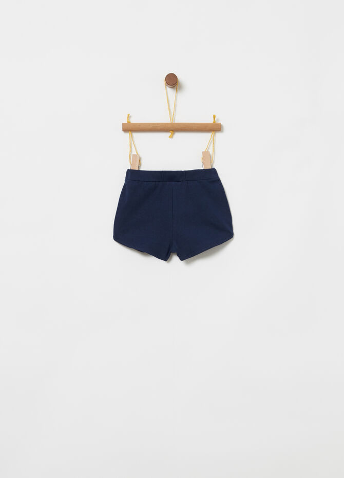 Jersey shorts with embroidered floral insert