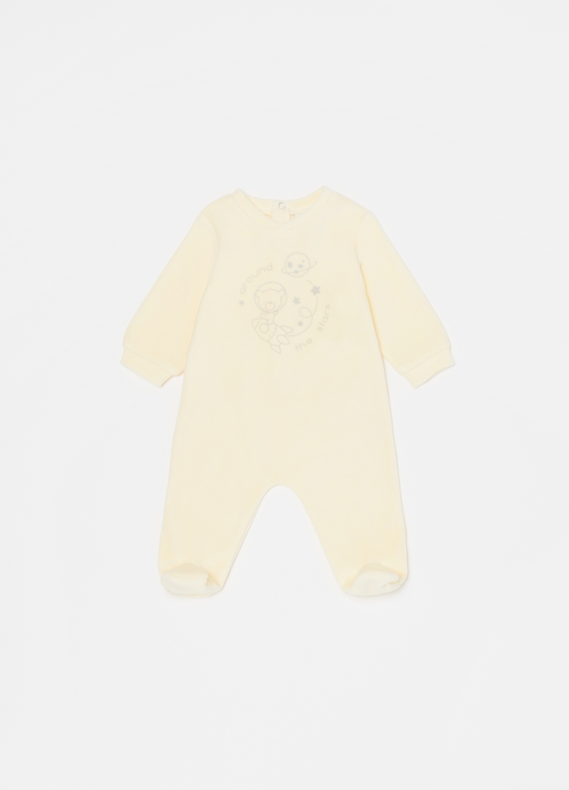Solid colour onesie with feet and teddy bear image number null