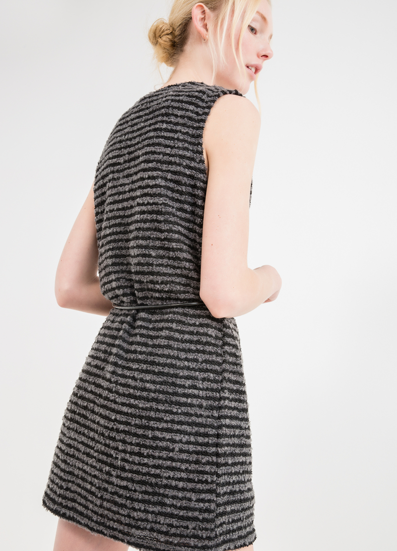 Long wool blend waistcoat with striped pattern image number null
