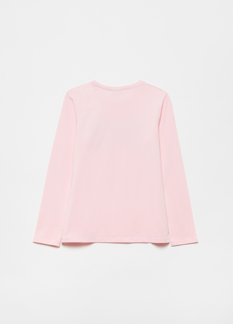 T-shirt in cotone stretch stampa glitter image number null