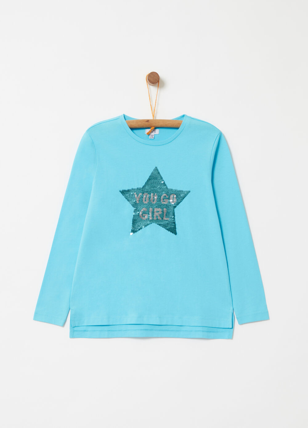 T-shirt with star embroidery and sequins
