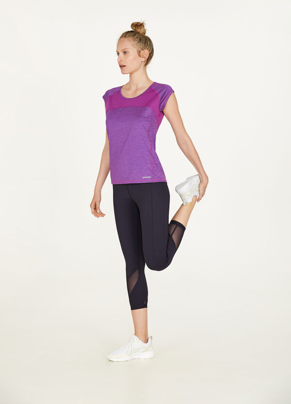 Printed stretch sports T-shirt with insert