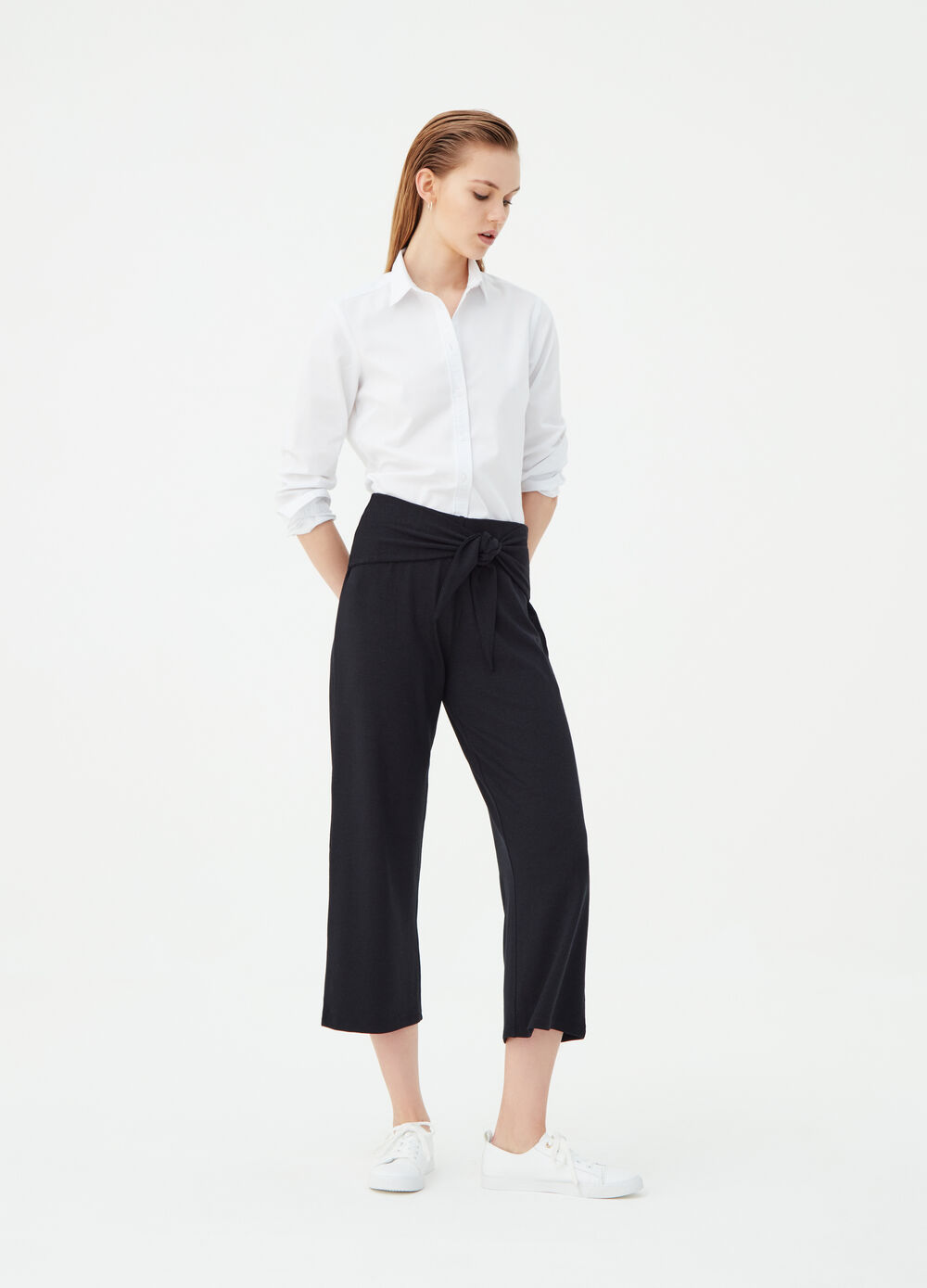 Palazzo-model crop trousers with bow