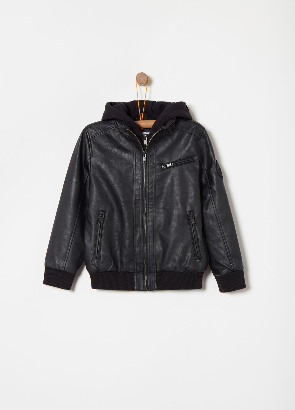 Leather-look jacket with micro-fleece lining
