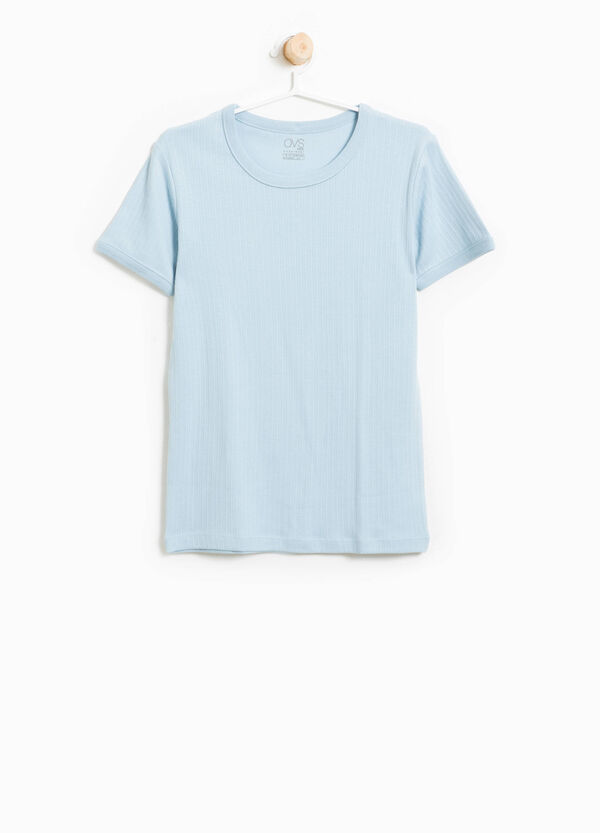 Ribbed cotton blend T-shirt | OVS