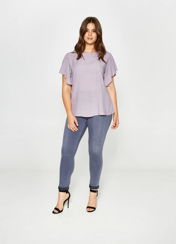 Curvy blouse in viscose with wide sleeves