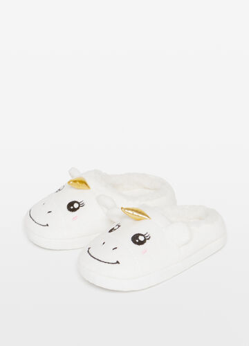Slippers with embroidery and unicorn ears