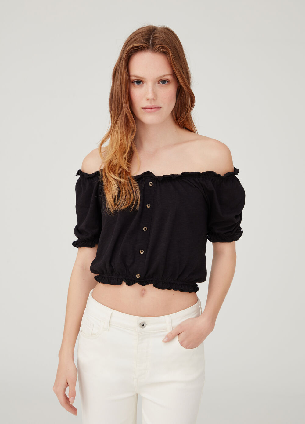 Regular-fit blouse with drop shoulder