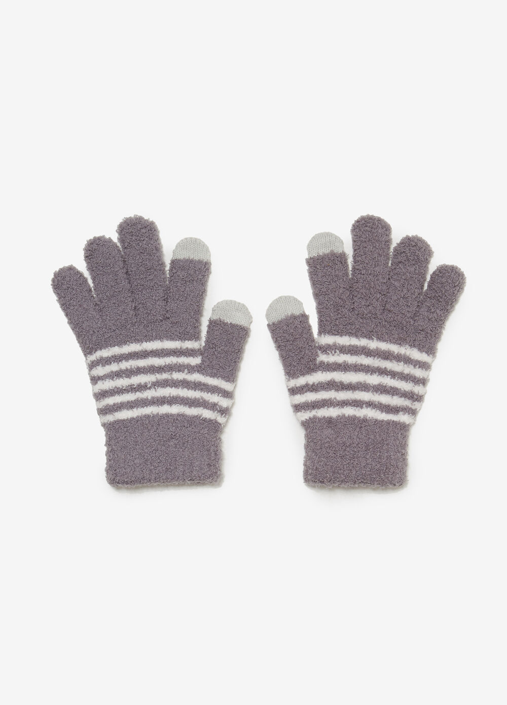 Striped pattern chenille gloves