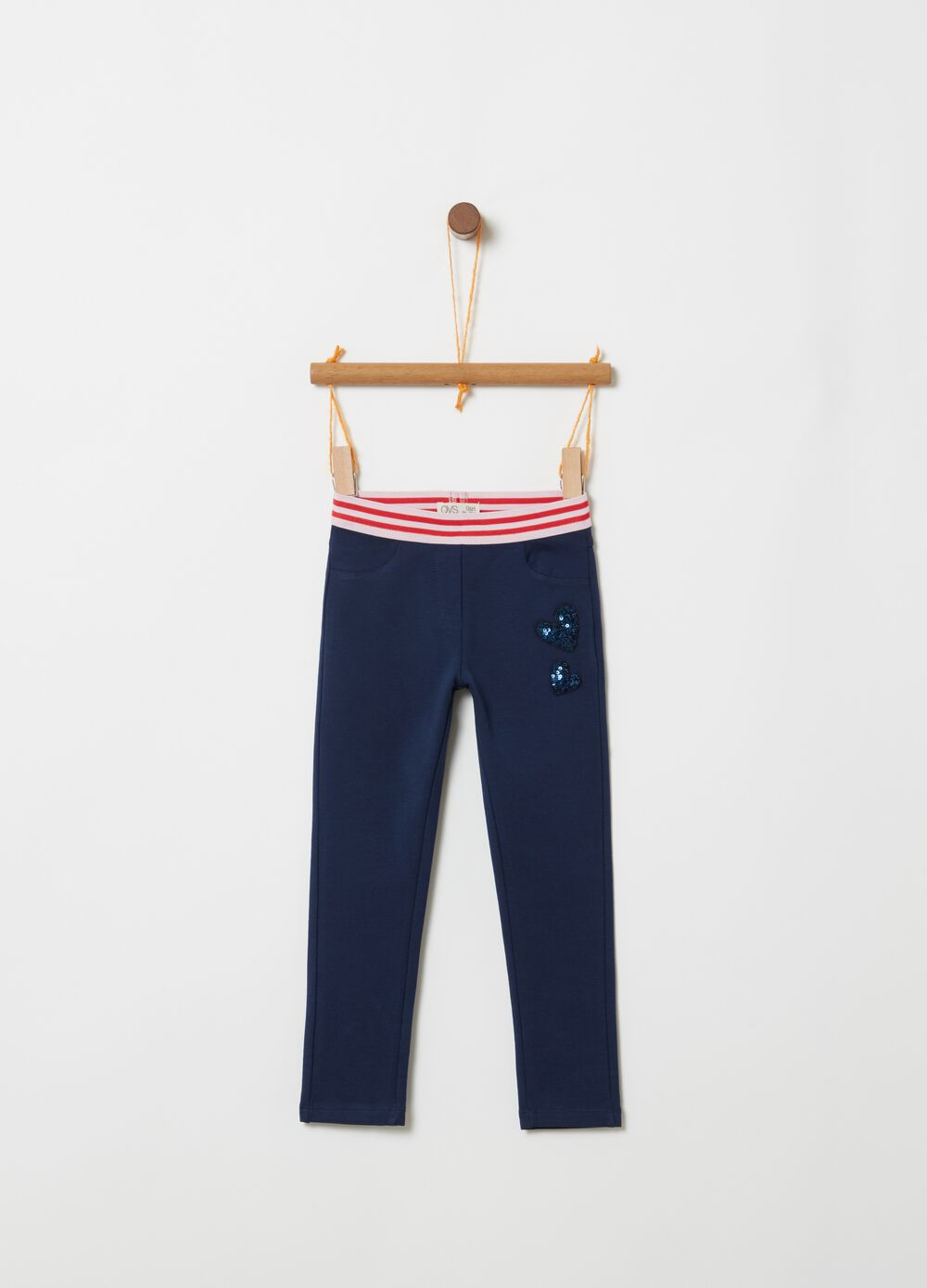Biocotton treggings with striped waist and sequins
