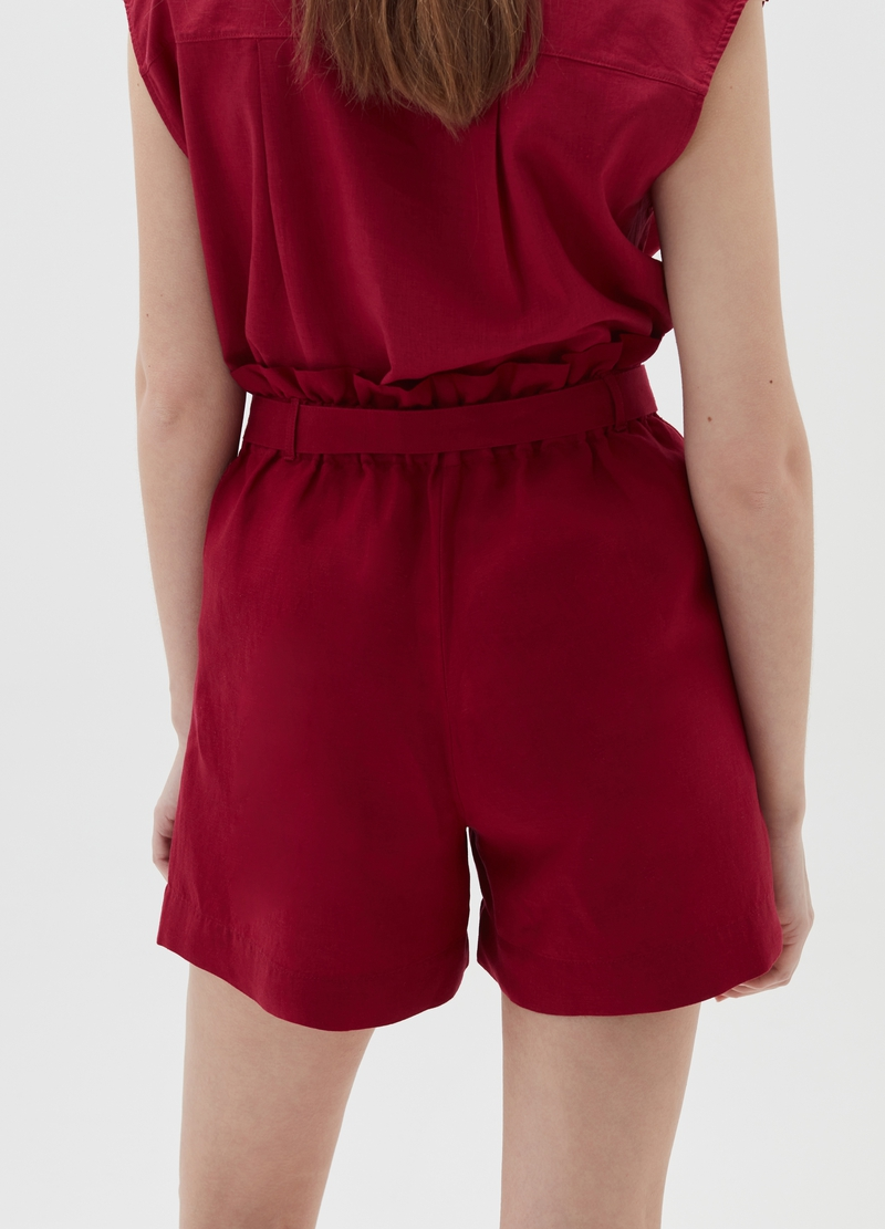 Linen and viscose paper bag shorts image number null