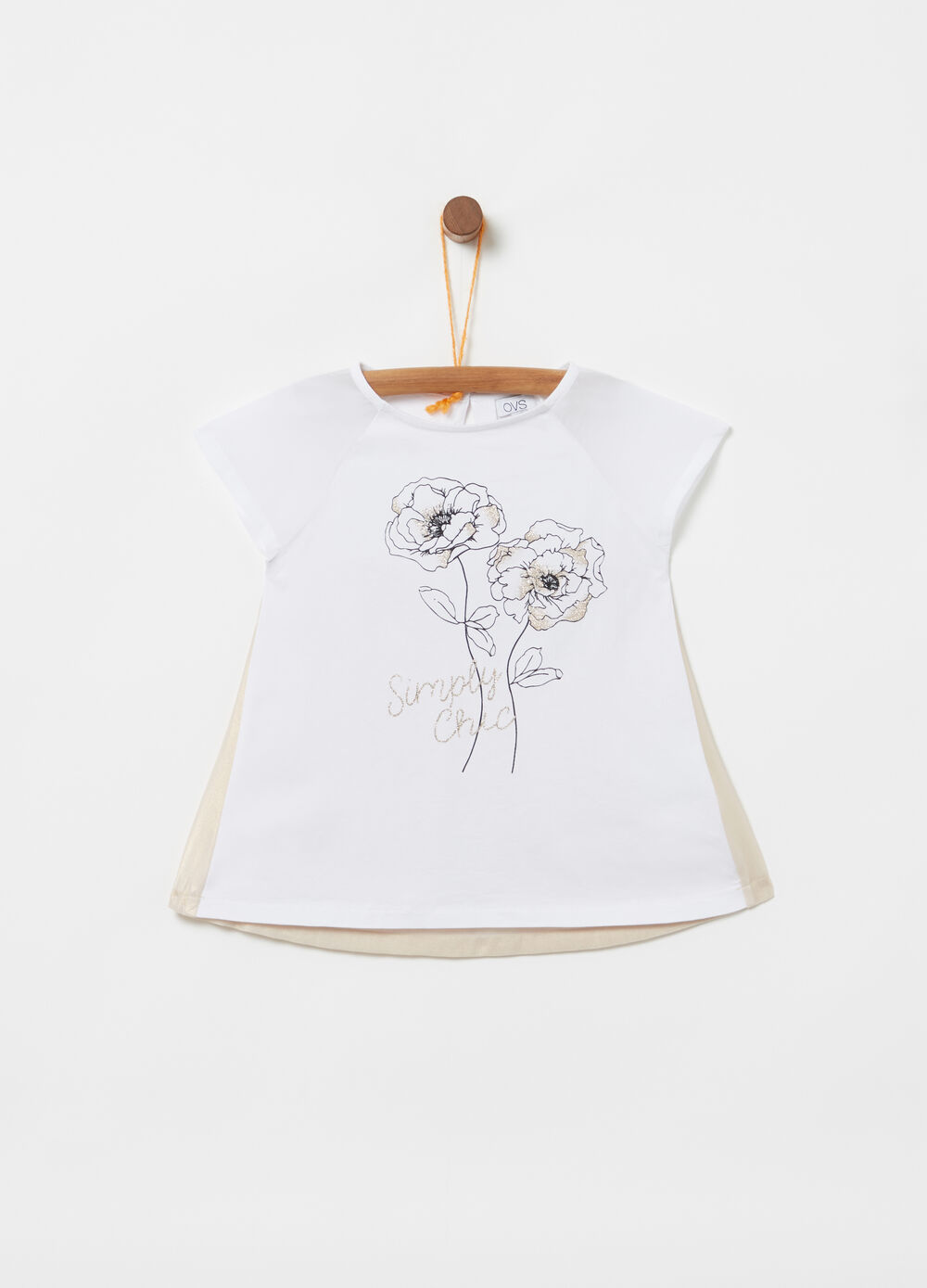 T-shirt with raglan sleeves and glitter print