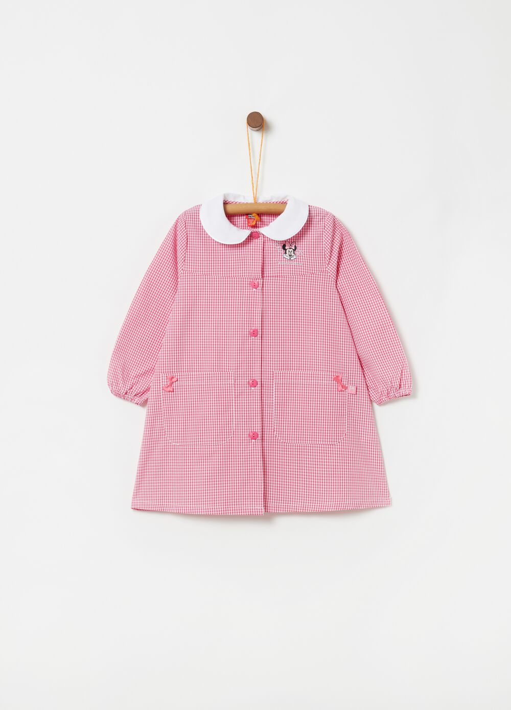 Checked pattern school smock with Minnie embroidery