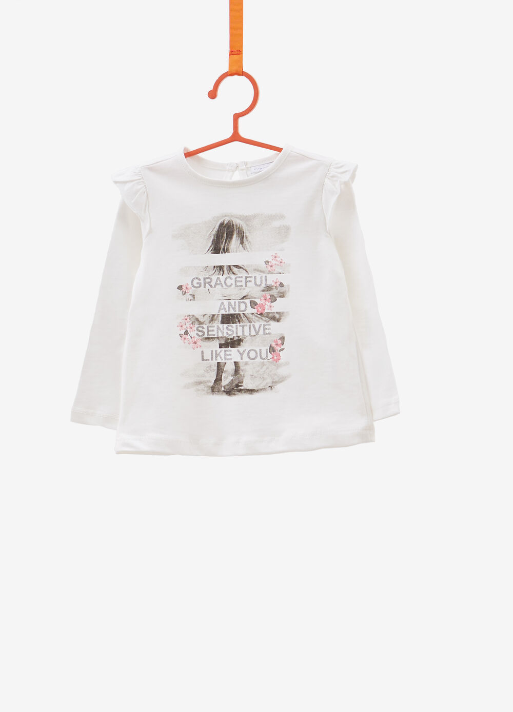 Cotton T-shirt with glitter print and flounce