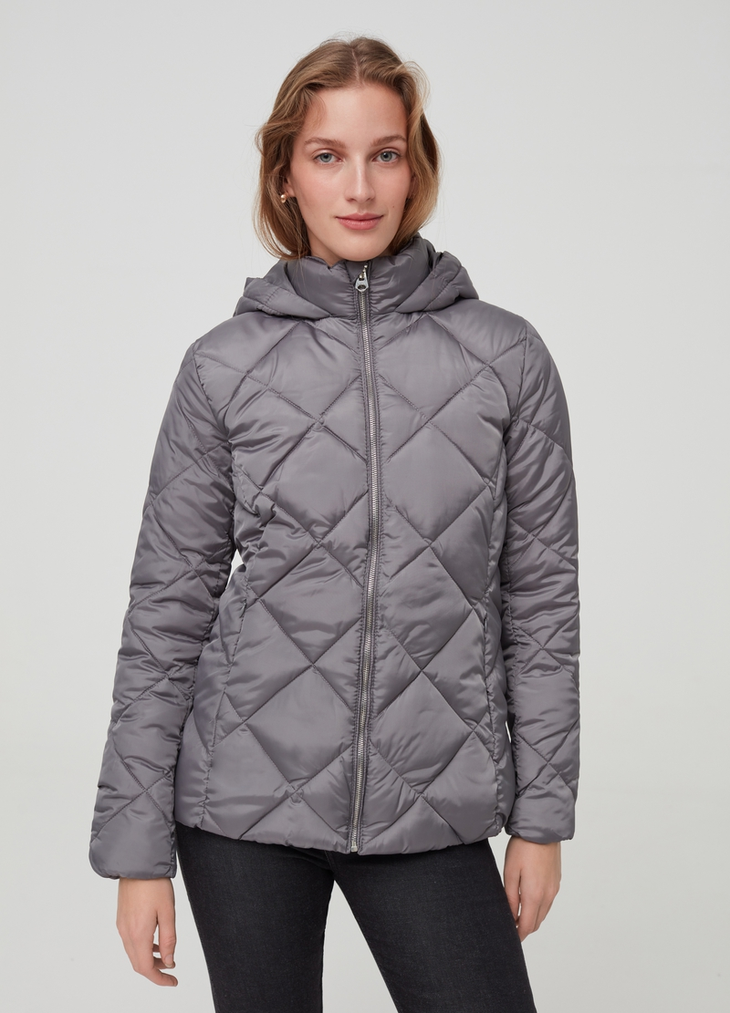 Padded jacket with diamond quilting image number null