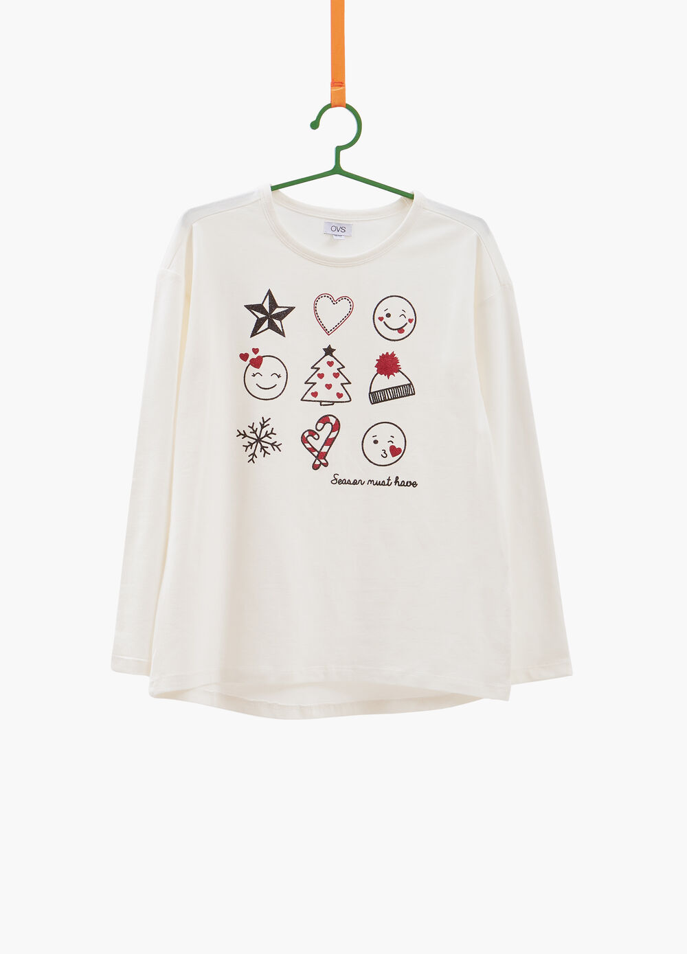Stretch cotton T-shirt with glitter Christmas print