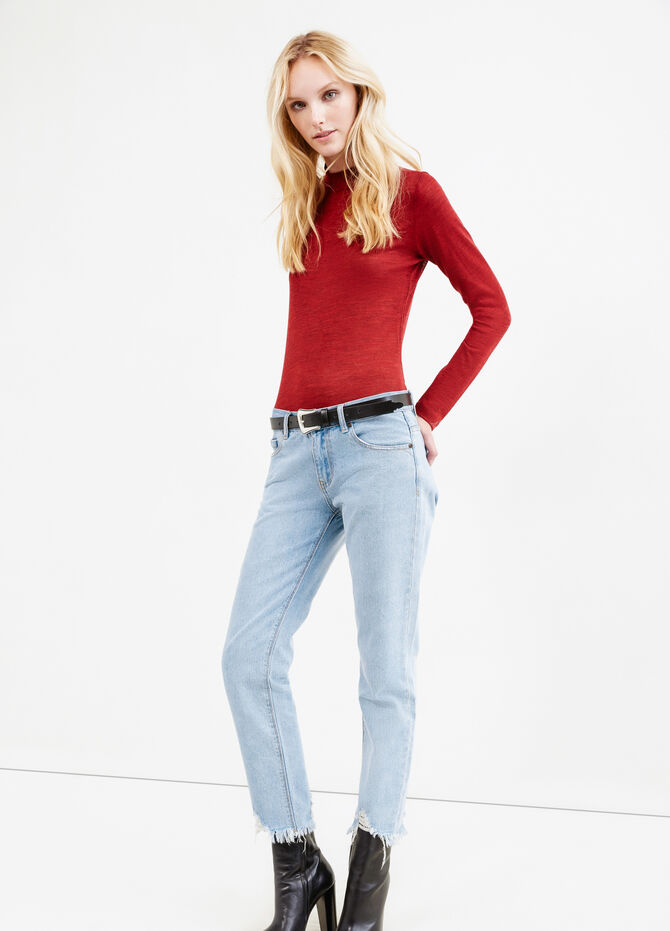 Solid colour wool blend turtleneck jumper