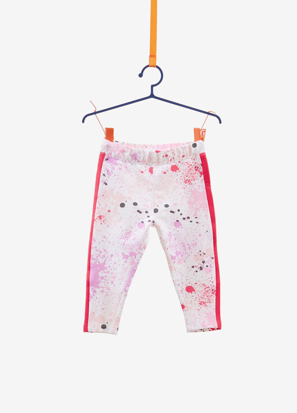 Cotton trousers with splashes pattern