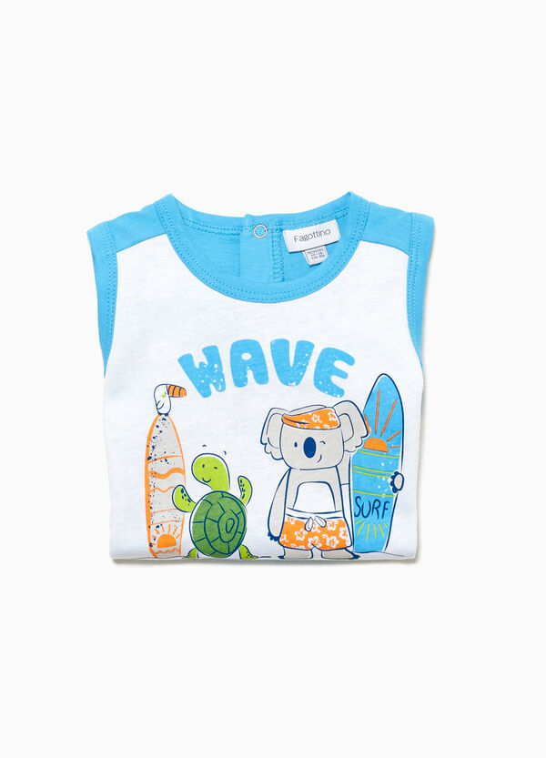 Cotton sleep suit with surf and animals