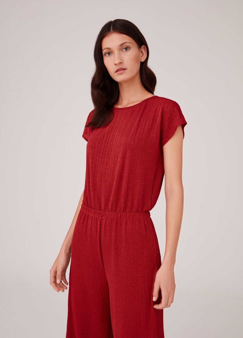 Playsuit with short sleeves and striped weave