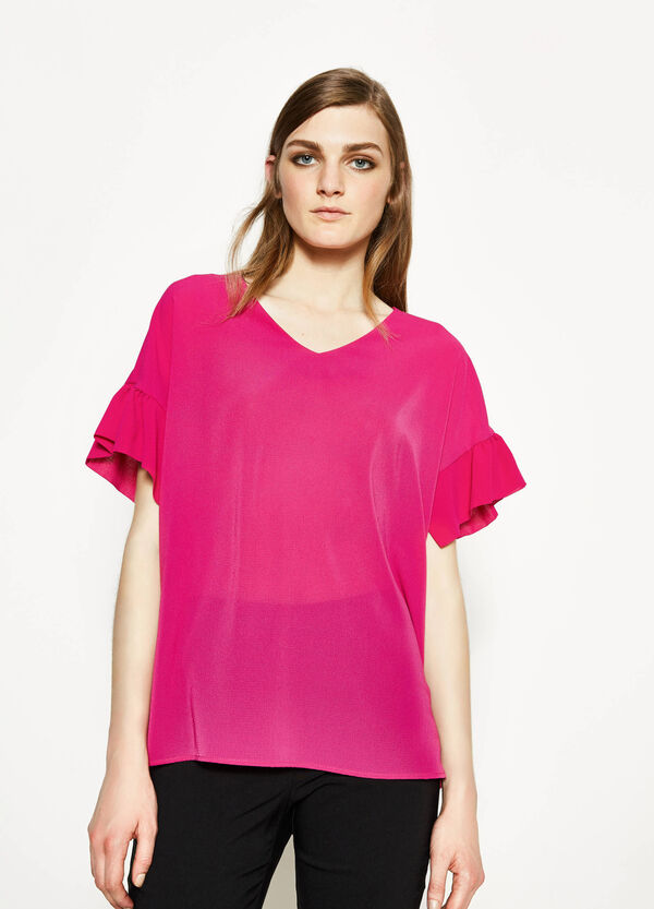 Blusa stretch con volants | OVS