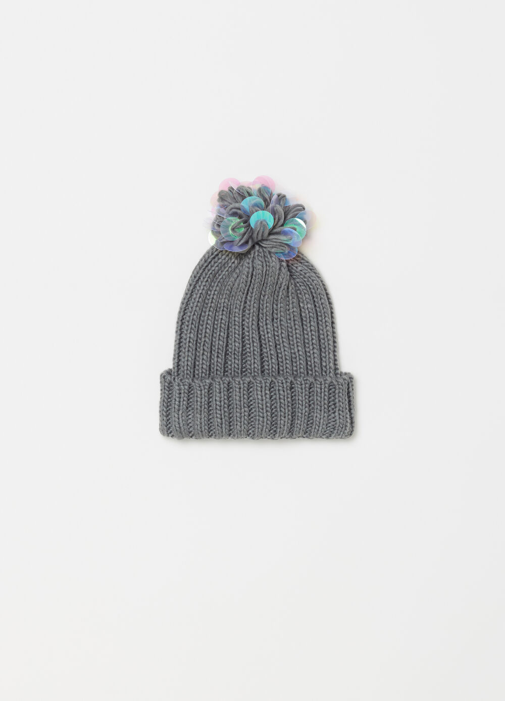 Knitted hat with pompoms and sequins